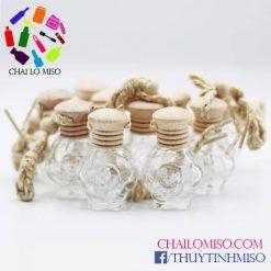 vỏ chai đựng tinh dầu treo xe hoa hồng 3