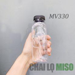 Chai nhựa PET vuông 330ml miệng to 2